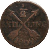 reverse of 1/2 Skilling - Gustaf IV Adolf (1802 - 1809) coin with KM# 565 from Sweden. Inscription: 1/2 SKILLING 1807
