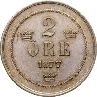 reverse of 2 Öre - Oscar II - Small letters (1874 - 1878) coin with KM# 735 from Sweden. Inscription: 2 ØRE 1877