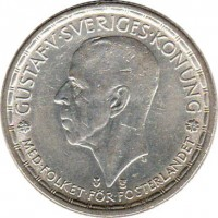 obverse of 2 Kronor - Gustav V (1942 - 1950) coin with KM# 815 from Sweden. Inscription: GUSTAF V SVERIGES KONUNG MED FOLKET FOR FOSTERLANDET