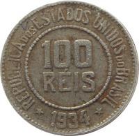 obverse of 100 Réis (1918 - 1935) coin with KM# 518 from Brazil. Inscription: REPUBLICA DOS ESTADOS UNIDOS DO BRASIL 100 RÉIS * 1935 *