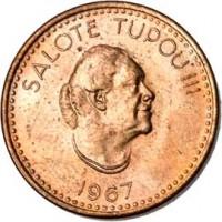 obverse of 1 Seniti - Salote Tupou III (1967) coin with KM# 4 from Tonga. Inscription: SALOTE TUPOU III 1967