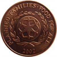 obverse of 2 Seniti - Taufa'ahau Tupou IV - FAO (2002 - 2005) coin with KM# 67a from Tonga. Inscription: PLANNED FAMILIES · FOOD FOR ALL 2002