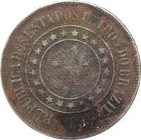 obverse of 200 Réis (1889 - 1900) coin with KM# 493 from Brazil. Inscription: REPUBLICA DOS ESTADOS UNIDOS DO BRAZIL *1900*
