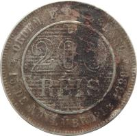 reverse of 200 Réis (1889 - 1900) coin with KM# 493 from Brazil. Inscription: ORDEM E PROGRESSO 200 RÉIS *15 DE NOVEMBRO DE 1889*