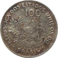 obverse of 100 Réis (1901) coin with KM# 503 from Brazil. Inscription: REPUBLICA DOS ESTADOS UNIDOS DO 100 RÉIS ESTADOS UNIDOS DO BRASIL 15 DE NOVEMBRO DE 1889 MCMI · BRASIL ·