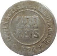 obverse of 200 Réis (1918 - 1935) coin with KM# 519 from Brazil. Inscription: REPUBLICA DOS ESTADOS UNIDOS DO BRASIL 200 RÉIS *1932*