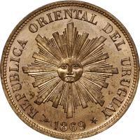 obverse of 1 Centésimo (1869) coin with KM# 11 from Uruguay. Inscription: REPUBLICA ORIENTAL DEL URUGUAY 1869