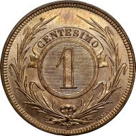 reverse of 1 Centésimo (1869) coin with KM# 11 from Uruguay. Inscription: CENTESIMO 1 A TASSET
