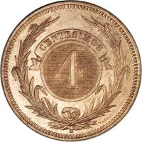 reverse of 4 Centésimos (1869) coin with KM# 13 from Uruguay. Inscription: CENTESIMOS 4 H TASSET