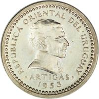 obverse of 1 Centésimo (1953) coin with KM# 32 from Uruguay. Inscription: REPÚPBLICA ORIENTAL DEL URUGUAY ARTIGAS 1953