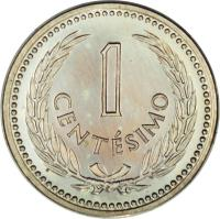 reverse of 1 Centésimo (1953) coin with KM# 32 from Uruguay. Inscription: 1 CENTÉSIMO