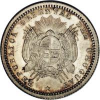 obverse of 10 Centésimos (1877 - 1893) coin with KM# 14 from Uruguay. Inscription: REPUBLICA ORIENTAL DEL URUGUAY