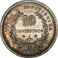 reverse of 10 Centésimos (1877 - 1893) coin with KM# 14 from Uruguay. Inscription: LIBRE Y CONSTITUIDA 10 CENTESIMOS 1893