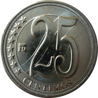 obverse of 25 Céntimos - Independence (2010) coin with Y# 99 from Venezuela. Inscription: 25 CÉNTIMOS