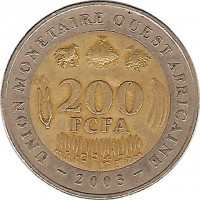 reverse of 200 Francs (2003 - 2010) coin with KM# 14 from Western Africa (BCEAO). Inscription: UNION MONÉTAIRE OUEST AFRICAINE 200 FCFA 2003