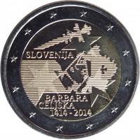 obverse of 2 Euro - Barbara of Celje (2014) coin with KM# 117 from Slovenia. Inscription: SLOVENIJA BARBARA CELJSKA 1414-2014