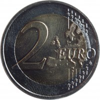 reverse of 2 Euro - Barbara of Celje (2014) coin with KM# 117 from Slovenia. Inscription: 2 EURO LL