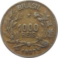 obverse of 1000 Réis (1924 - 1931) coin with KM# 525 from Brazil. Inscription: BRASIL * 1000 REIS 1927