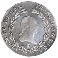 obverse of 20 Kreuzer - Franz II (1804 - 1806) coin with KM# 2140 from Austria. Inscription: FRANC II. D. G. R. I. S. A. GERM. HV. BO. REX.