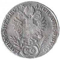 reverse of 20 Kreuzer - Franz II (1804 - 1806) coin with KM# 2140 from Austria. Inscription: 20 ARCH. AVST. D. BURG. LOTH. M. D. HET.