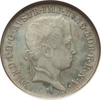 obverse of 20 Kreuzer - Ferdinand I (1837 - 1848) coin with KM# 2208 from Austria. Inscription: FERD · I · D · G · AVSTR · IMP · HVNG · BOH · R · H · N · V · A