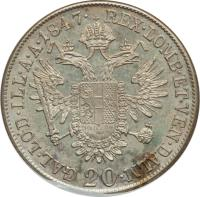 reverse of 20 Kreuzer - Ferdinand I (1837 - 1848) coin with KM# 2208 from Austria. Inscription: REX · LOMB · ET · VEN · DALM · GAL · LOD · ILL · A · A · 1847 · 20