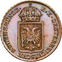obverse of 2 Kreuzer - Ferdinand I (1848) coin with KM# 2188 from Austria. Inscription: K · K · OESTERREICHISCHE SCHEIDEMUNZE ·