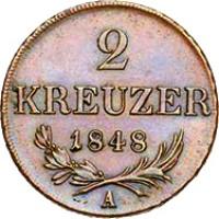 reverse of 2 Kreuzer - Ferdinand I (1848) coin with KM# 2188 from Austria. Inscription: 2 KREUZER 1848 A