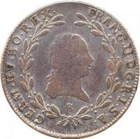 obverse of 20 Kreuzer - Franz II (1792 - 1804) coin with KM# 2139 from Austria. Inscription: FRANC · II · D · G · R · I · S · A · GERM · HV · BO · REX · E
