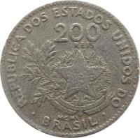 obverse of 200 Réis (1901) coin with KM# 504 from Brazil. Inscription: REPUBLICA DOS ESTADOS UNIDOS DO 200 RÉIS ESTADOS UNIDOS DO BRASIL 15 DE NOVEMBRO DE 1889 MCMI · BRASIL ·