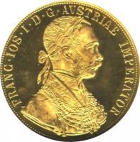 obverse of 4 Ducats - Franz Joseph I - Trade Coinage (1872 - 1915) coin with KM# 2276 from Austria. Inscription: FRANC · IOS · I · D · G · AVSTRIAE IMPERATOR