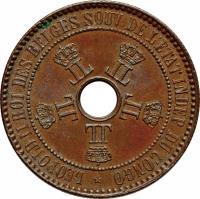 obverse of 5 Centimes - Leopold II (1887 - 1894) coin with KM# 3 from Belgian Congo. Inscription: *LEOP.II R.D.BELGES SOUV.DE L'ETAT INDEP.DU CONGO