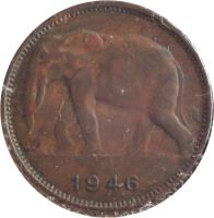 obverse of 1 Franc - Leopold III (1944 - 1949) coin with KM# 26 from Belgian Congo. Inscription: 1946