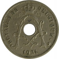 obverse of 10 Centimes - Albert I - French text; With star (1930 - 1932) coin with KM# 95 from Belgium. Inscription: ROYAUME DE BELGIQUE * 1931