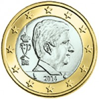obverse of 1 Euro - Philippe (2014 - 2015) coin with KM# 337 from Belgium. Inscription: FP BE 2014