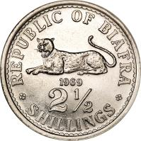 reverse of 2 1/2 Shillings (1969) coin with KM# 4 from Biafra. Inscription: REPUBLIC OF BIAFRA 1969 2½ SHILLINGS