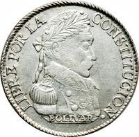 obverse of 4 Soles (1830) coin with KM# 96a from Bolivia. Inscription: LIBRE POR LA CONSTITUCION BOLIVAR