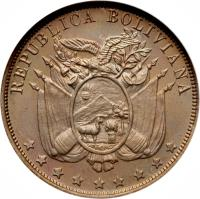 obverse of 10 Centavos (1892) coin with KM# 172 from Bolivia. Inscription: REPUBLICA BOLIVIANA