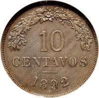reverse of 10 Centavos (1892) coin with KM# 172 from Bolivia. Inscription: 10 CENTAVOS 1892