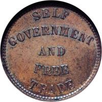 obverse of 1/2 Penny - George Davies / Simeon Davies / Henry Haszard (1855 - 1857) coin with BR# 918 from Canadian provinces. Inscription: SELF GOVERNMENT AND FREE TRADE
