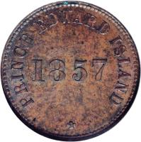 reverse of 1/2 Penny - George Davies / Simeon Davies / Henry Haszard (1855 - 1857) coin with BR# 918 from Canadian provinces. Inscription: PRINCE EDWARD ISLAND 1857