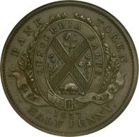 obverse of 1/2 Penny - MontReal Concordia Salus Bank Token; CITY BANK (1837) coin with BR# 522 from Canadian provinces. Inscription: BANK TOKEN CONCORDIA SALUS CITY BANK 1837 HALF PENNY.
