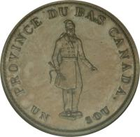reverse of 1/2 Penny - MontReal Concordia Salus Bank Token; CITY BANK (1837) coin with BR# 522 from Canadian provinces. Inscription: PROVINCE DU BAS CANADA. UN SOU