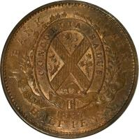 obverse of 1/2 Penny - MontReal Concordia Salus Bank Token; QUEBEC BANK (1837) coin with KM# Tn7 from Canadian provinces. Inscription: BANK TOKEN CONCORDIA SALUS QUEBEC BANK 1837 HALF PENNY.