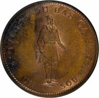 reverse of 1/2 Penny - MontReal Concordia Salus Bank Token; QUEBEC BANK (1837) coin with KM# Tn7 from Canadian provinces. Inscription: PROVINCE DU BAS CANADA. UN SOU