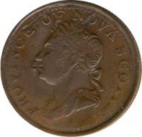 obverse of 1/2 Penny - George IV (1823 - 1832) coin with BR# 867 from Canadian provinces. Inscription: PROVINCE OF NOVA SCOTIA