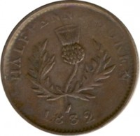 reverse of 1/2 Penny - George IV (1823 - 1832) coin with BR# 867 from Canadian provinces. Inscription: HALFPENNY TOKEN 1823