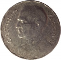 reverse of 200 Réis (1938 - 1942) coin with KM# 545 from Brazil. Inscription: GETULIO VARGAS