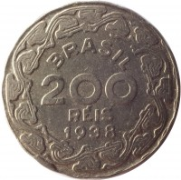 obverse of 200 Réis (1938 - 1942) coin with KM# 545 from Brazil. Inscription: BRASIL 200 RÉIS 1938
