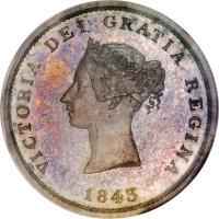 obverse of 1 Penny - Victoria (1843) coin with BR# 909 from Canadian provinces. Inscription: VICTORIA DEI GRATIA REGINA 1843